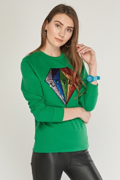 Sequin Diamond Trim Long Sweatshirt