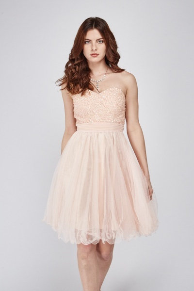 Sequinned Sweetheart Mesh Dress