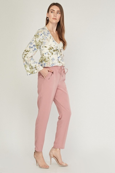 Dusty Pink Tapered Trousers