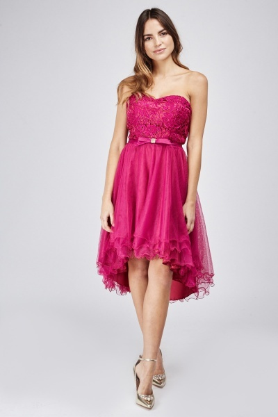 Hi Low Lace Overlay Mini Dress