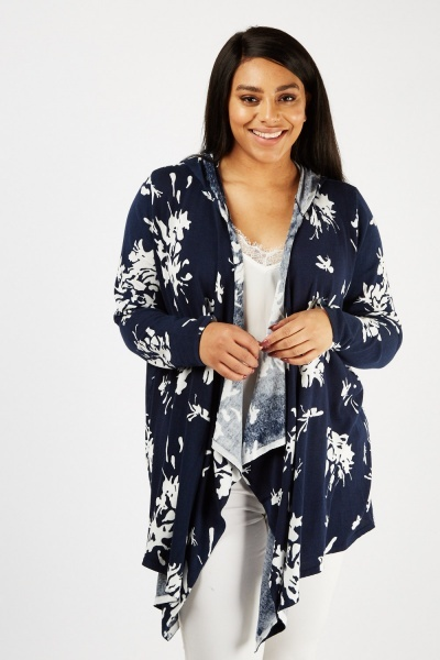 Printed Hooded Waterfall Cardigan