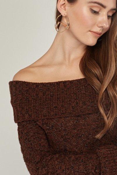 Slouchy Neck Knit Jumper Dress