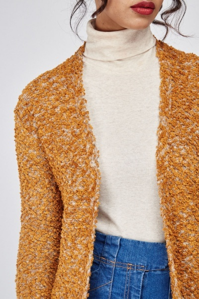 Textured Speckled Long Cardigan