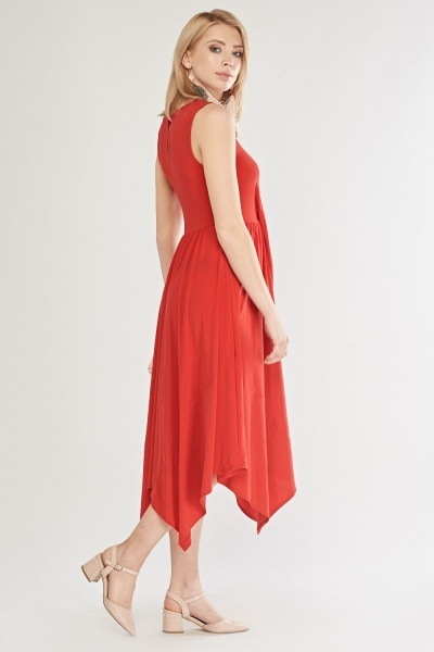 Tie Up Waist Midi Swing Dress