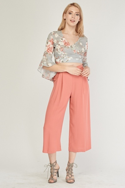 Wide Leg Culotte Pants