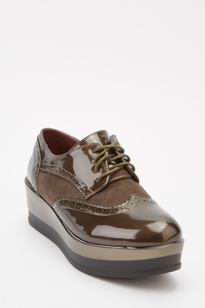 Contrast Chunky Brogue Shoes