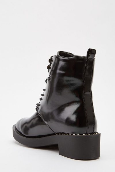 Hi-Shine Lace Up Ankle Boots