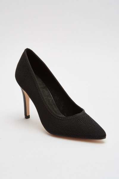 Knitted Contrast Court Heels