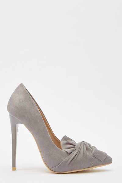 Suedette Front Detail High Heels