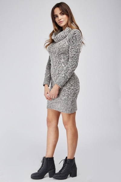 Cowl Neck Cable Knit Jumper Dress
