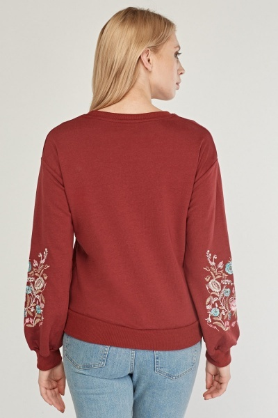 Floral Embroidered Casual Sweatshirt