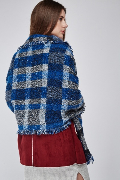 Frayed Edge Checked Scarf