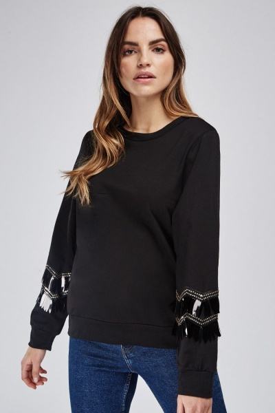 Sequin Embellished Sleeve Sweatshirt