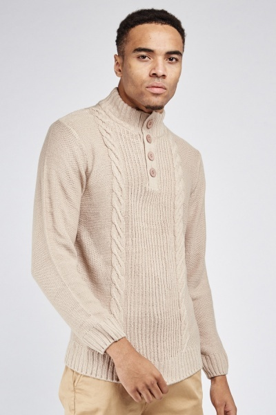 Button Front Cable Knit Jumper
