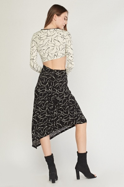 Cut Out Printed Midi Dress