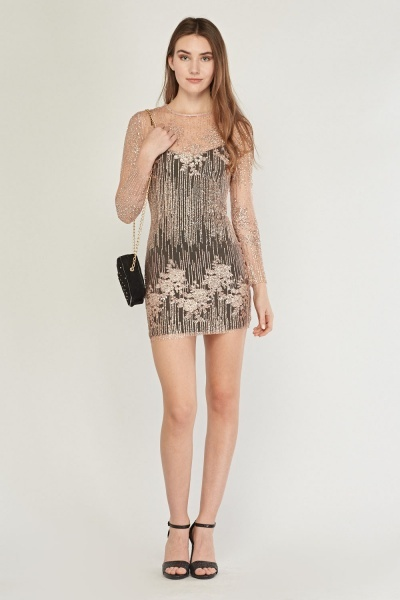 Glittered Mesh Overlay Dress