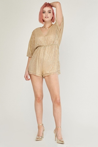 Metallic Plisse Wrap Playsuit