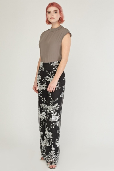 Sequin Mesh Overlay Trousers