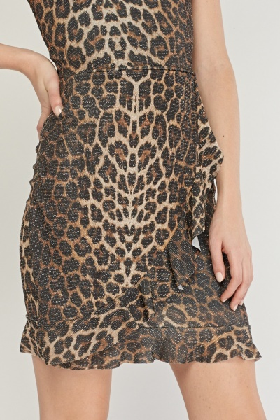 Shimmery Leopard Print Bodycon Dress