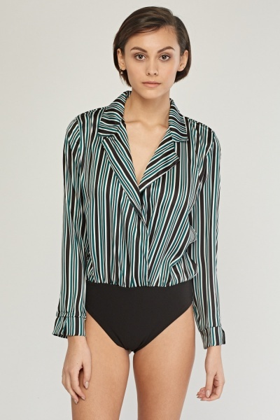 Striped Low Plunge Bodysuit