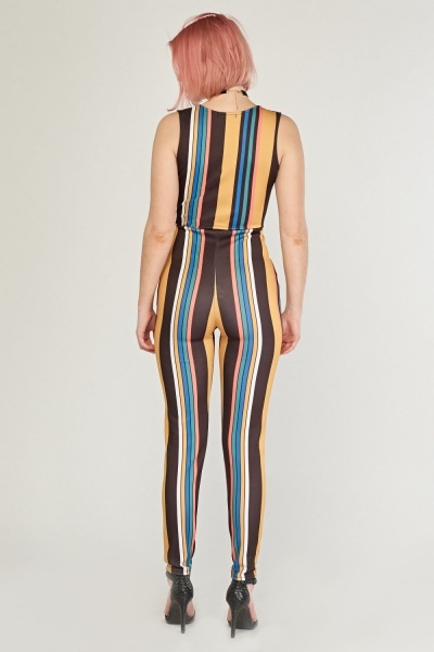 Striped Low Plunge Wrap Jumpsuit