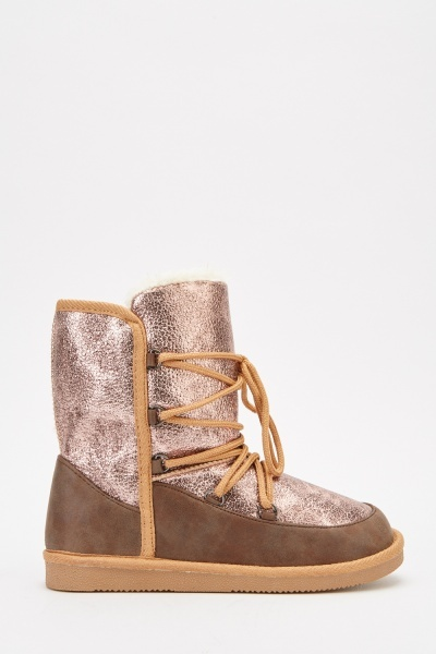 Contrast Metallic Tie Up Boots