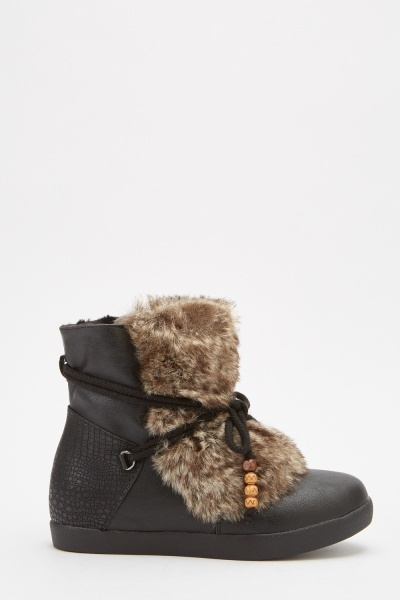Faux Fur Tie Up Winter Boots