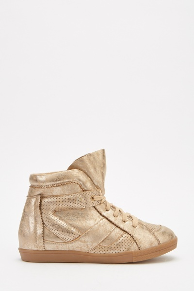 Metallic High Top Trainers