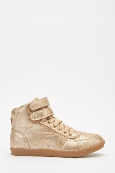 Metallic Hook And Loop High Top Trainers