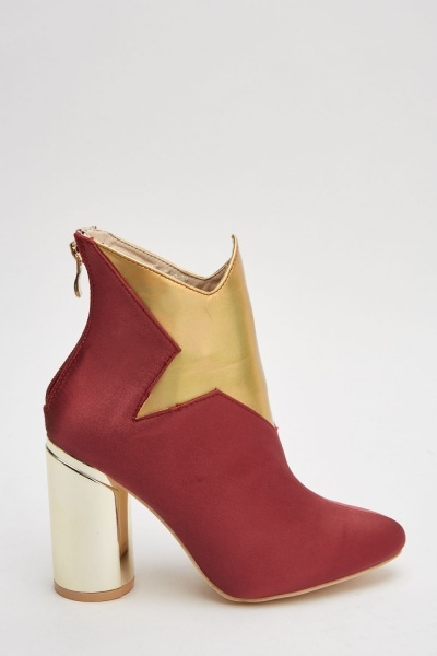 Metallic Star Sateen Ankle Boots