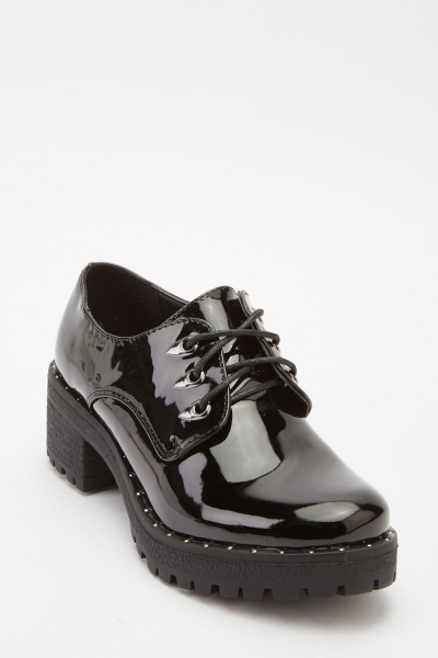 PVC Lace Up Block Heel Shoes