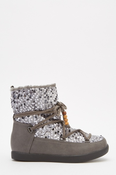 Sequin Contrast Winter Boots