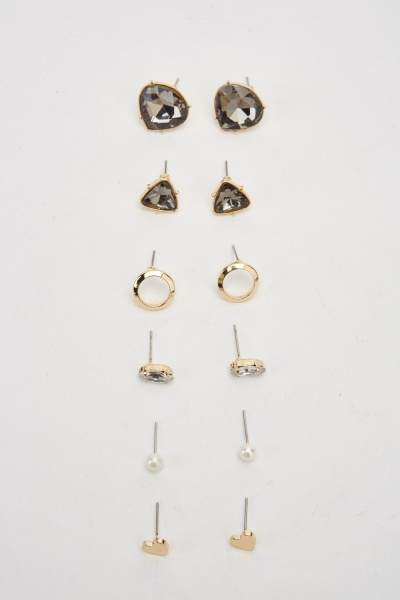 Set Of 6 Stud Earrings Set