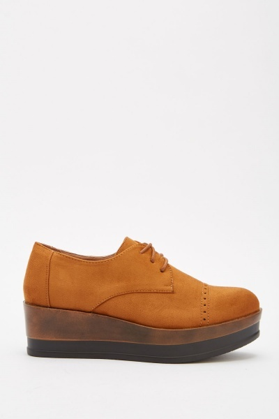 Suedette Chunky Brogue Shoes