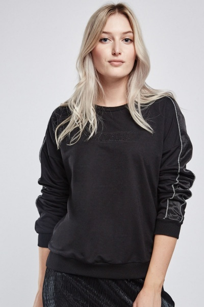 Embroidered Contrasted Long Sleeve Sweatshirt