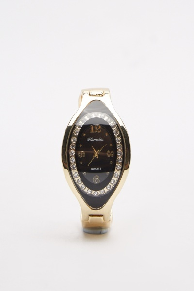 Encrusted Face Bangle Watch