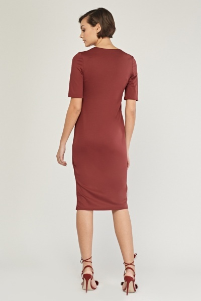 Midi Maroon Pencil Dress