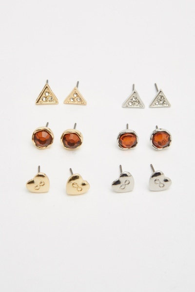 Pack Of 6 Contrasted Earrings Set