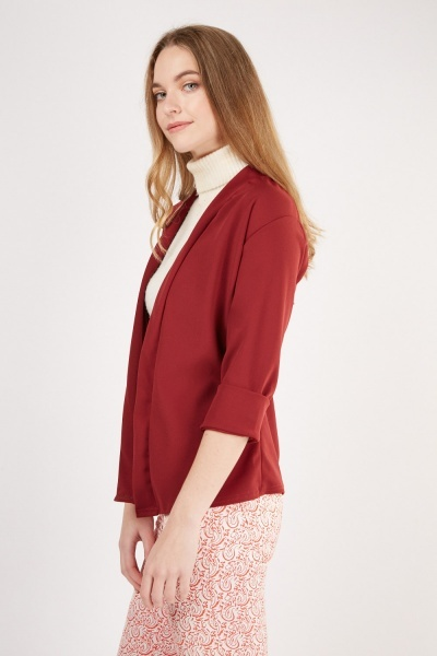 Rolled Sleeve Burgundy Blazer