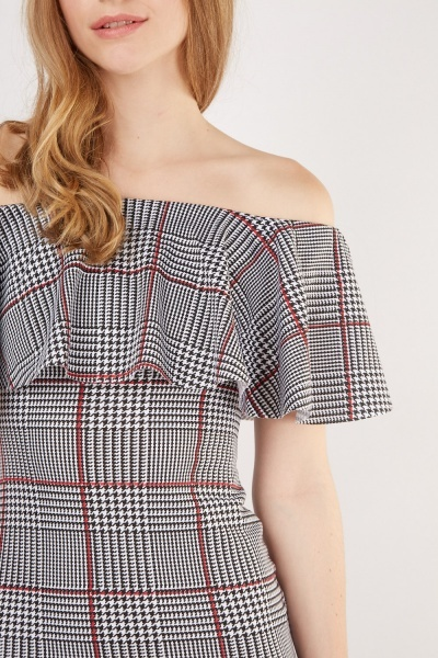 Ruffle Off Shoulder Glen Check Dress