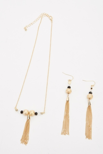 Tassel Pendant Necklace And Earrings Set