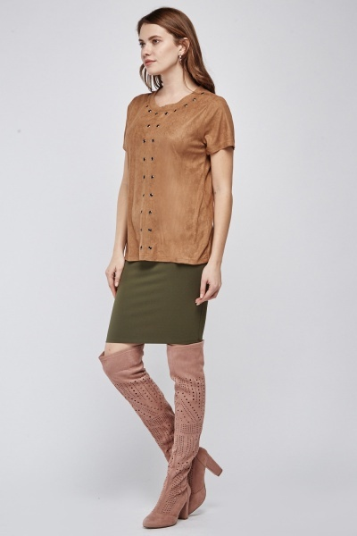 Eyelet Trim Suedette Top