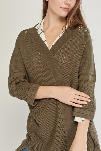 Loosed Knit Fringed Cardigan