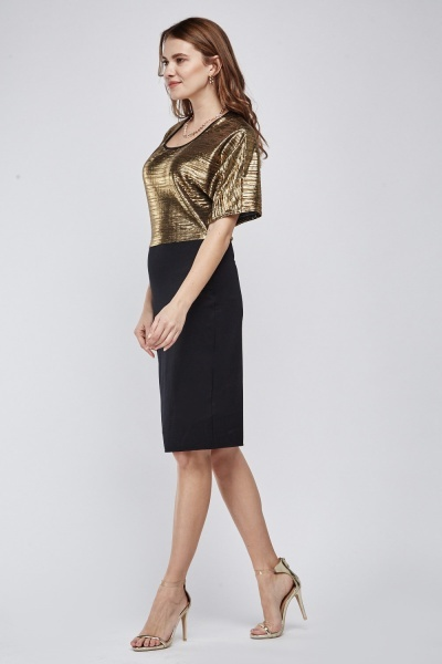 Metallic Plisse Pencil Dress