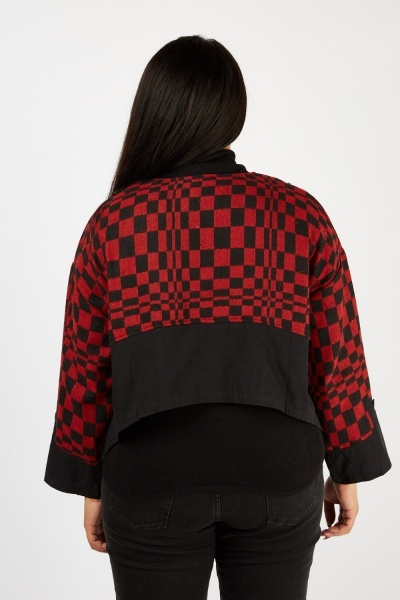 Waterfall Checkered Crop Jacket