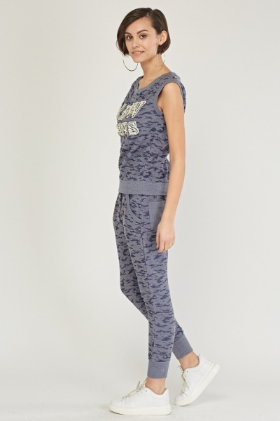 Embellished Camo Top And Joggers Set