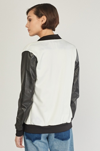 Faux Leather Contrasted Zip Up Jacket