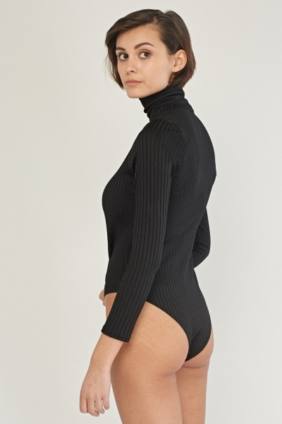 High Neck Ribbed Bodysuit