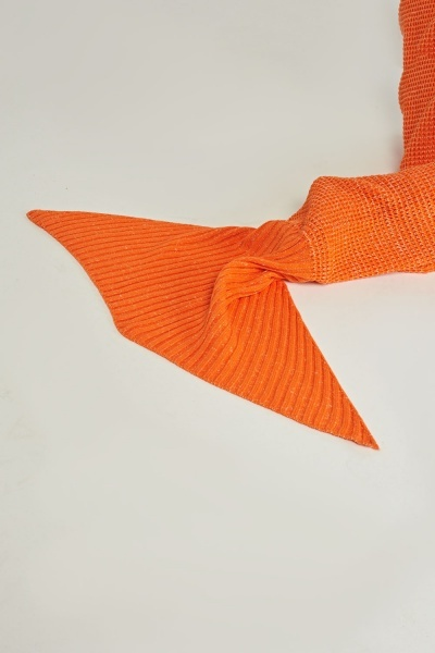 Knitted Orange Mermaid Tail Blanket