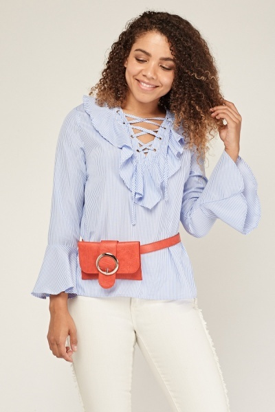 Lace Up Ruffle Stripe Blouse